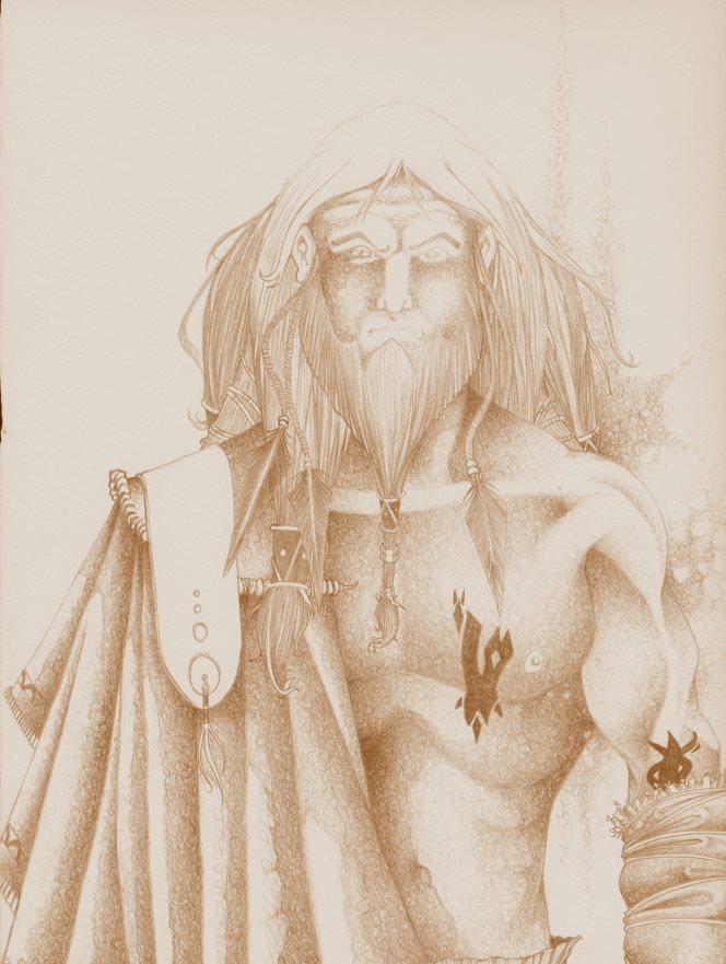 dessin d'un guerrier wotanique, longue chevelure et tatouage sur le coprs - jdr altéra néa